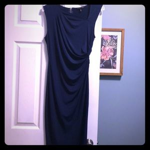 Classic navy midi-dress with gold zipper on back